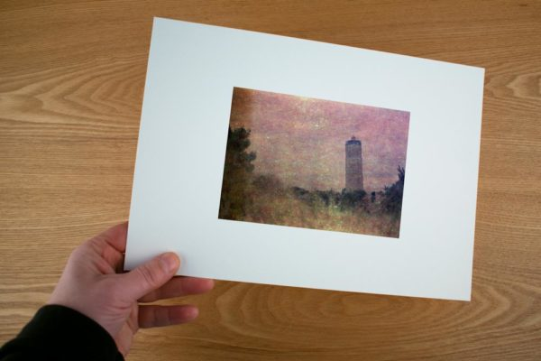 An impressionistic view in a fine art print of The lighthouse Brandaris, Terschelling