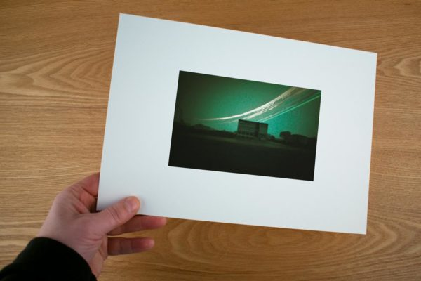 A solargraphy fine art print showing you the Nest research facility in Raufarhofn, Iceland
