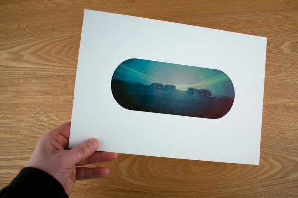 A solargraphy fine art print of the Dutch arctic station in Ny-Ålesund Spitsbergen