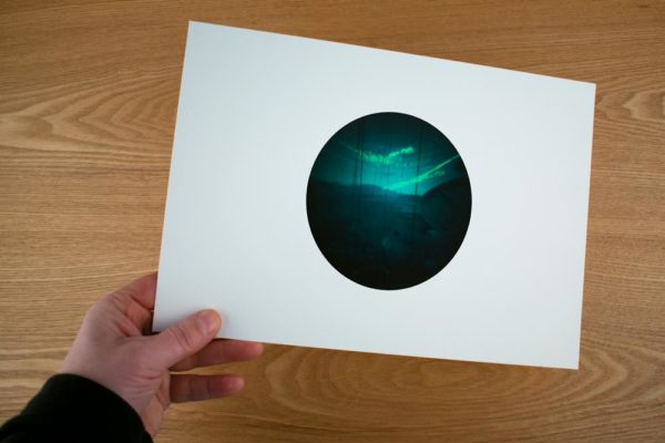 A solargraphy fine art print of SV Mae West while sailing ilulissat fjord in Greenland