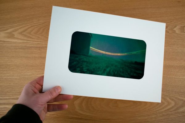 A solargraphy fine art print of the Dutch Arctic Station in Ny-Ålesund Spitsbergen