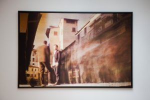 ponte vecchio printed on silk satin fabric framed on a wall